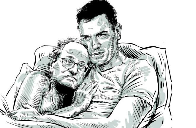 """Карикатура из Эль Мундо. """"Влюблённые Педро Санчес и Ким Торра"""". Pedro Sánchez necesita un relator"""